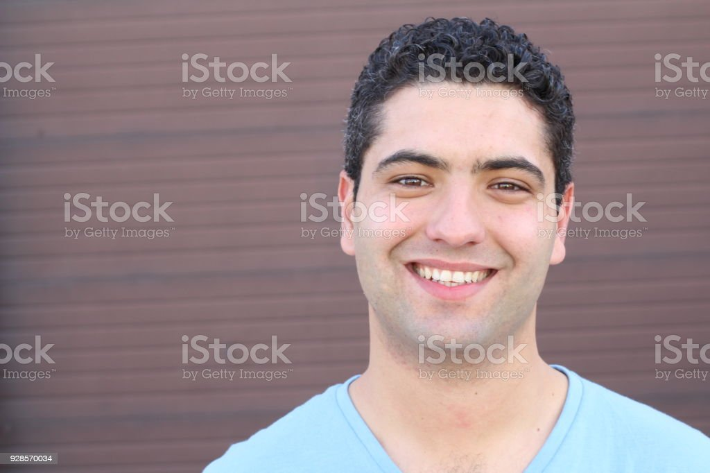 Natural man with a perfect smile stock photo