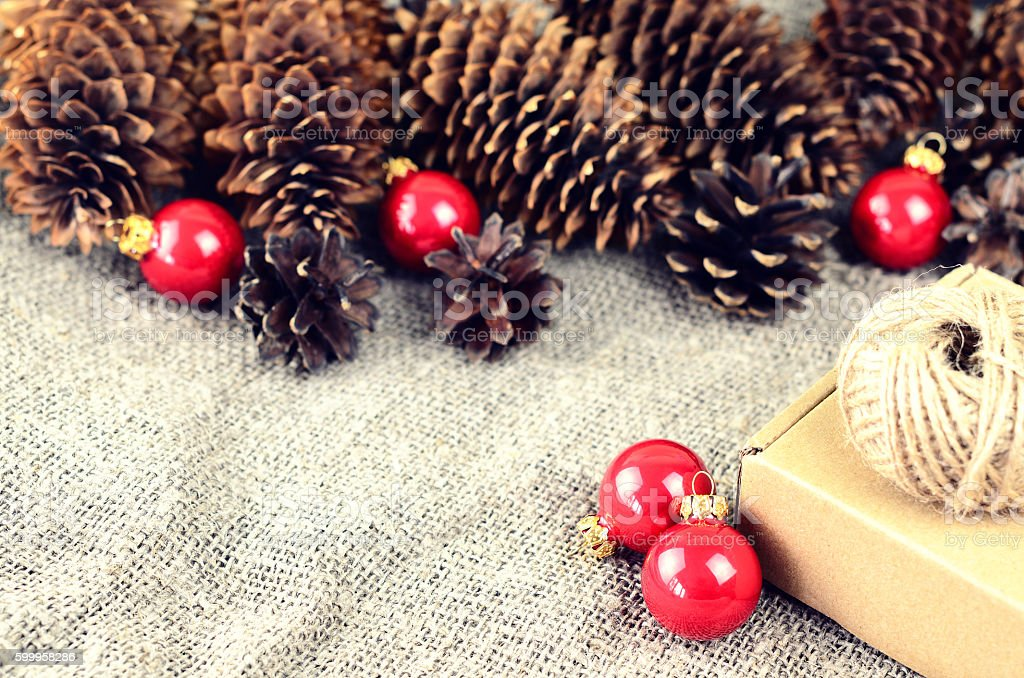 Natural materials for handcrafted Christmas decoration stock photo