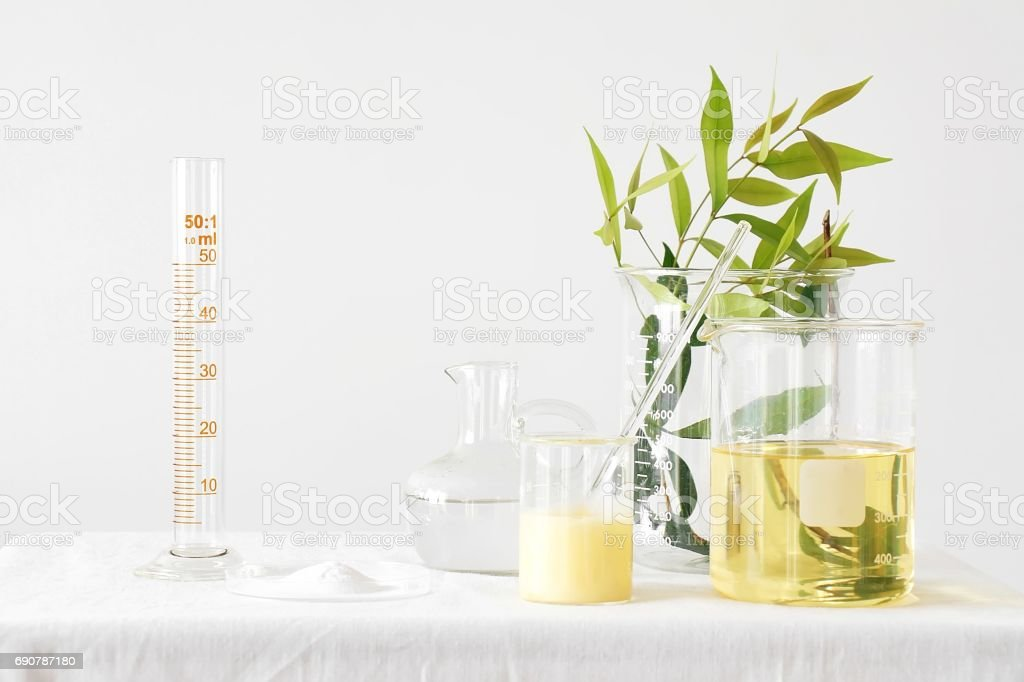 Natural medicine, Equipment and science experiments, Formulating the chemical for medicine, Organic pharmaceutical, Alternative medicine concept. stock photo