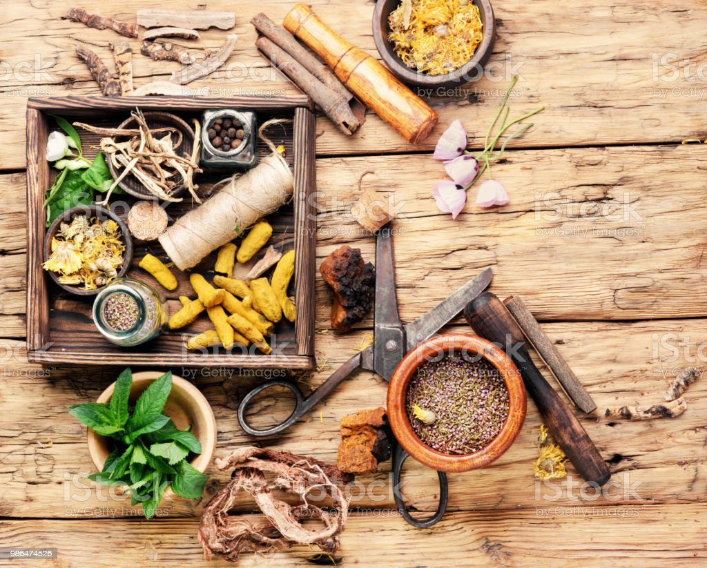 Natural medicine, herbs and plant stock photo