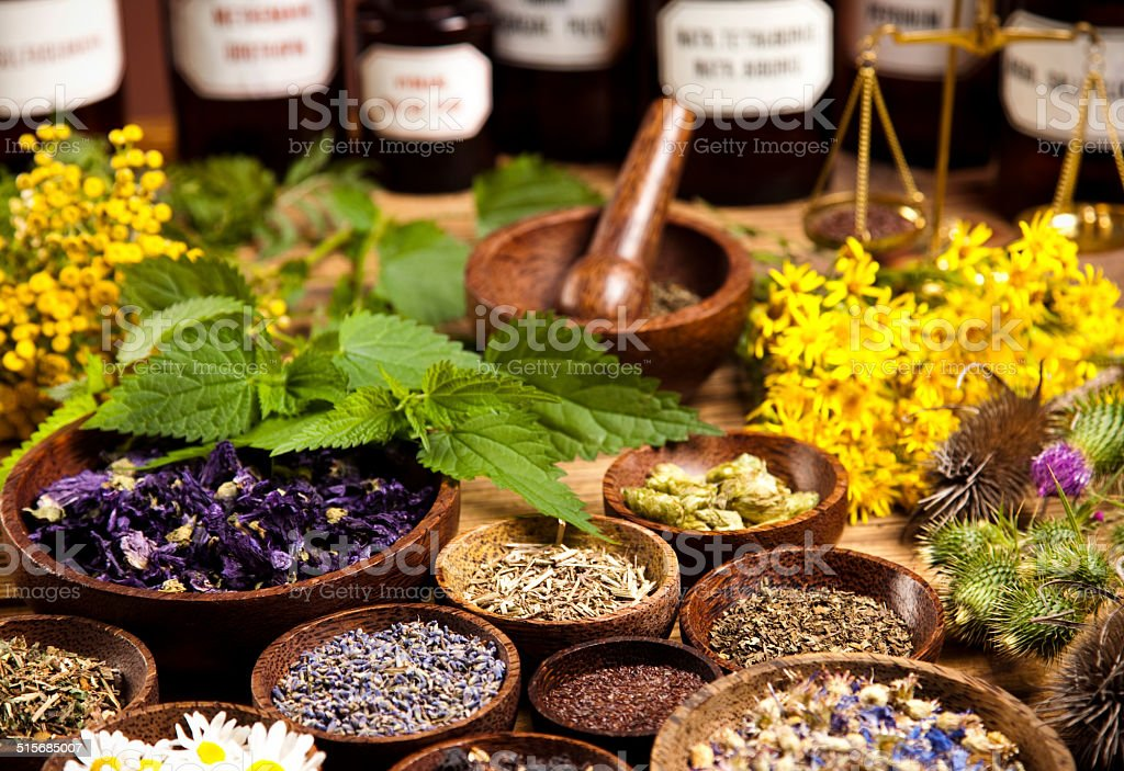 Natural medicine, herbs, mortar stock photo
