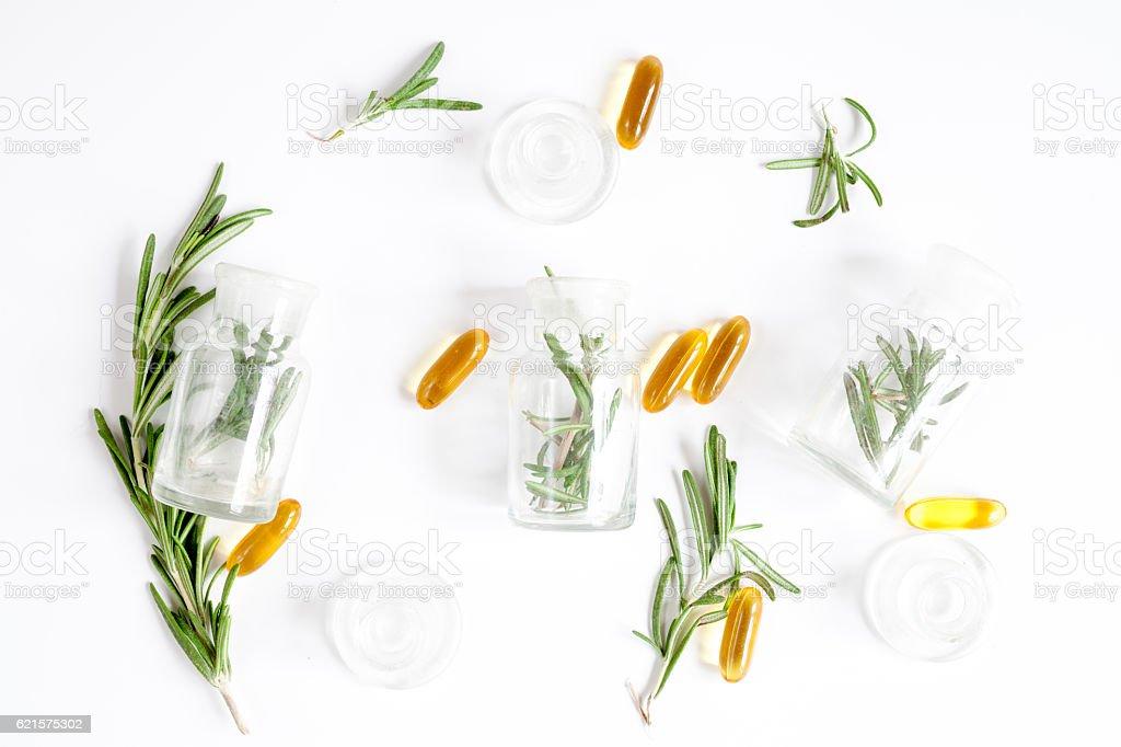 natural medicine - herbs top view photo libre de droits
