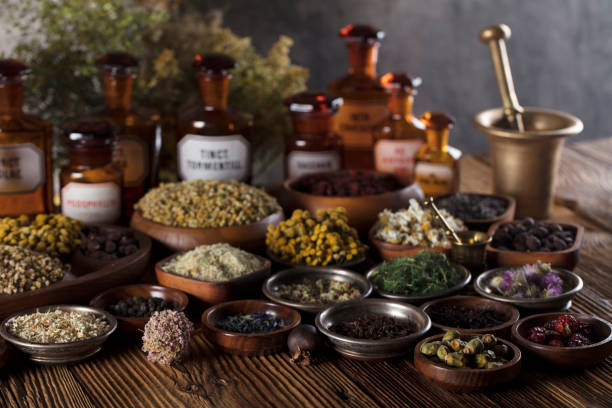 natural medicine. - herb stock photos and pictures