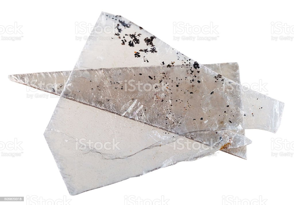 natural mineral Muscovite mica pieces isolated stock photo