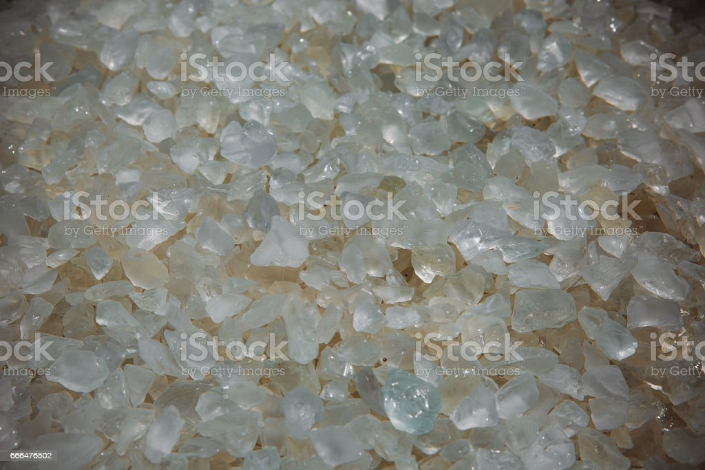 natural mineral pebbles - various white natural rock crystal clear quartz mineral stones Miami Florida USA stock photo