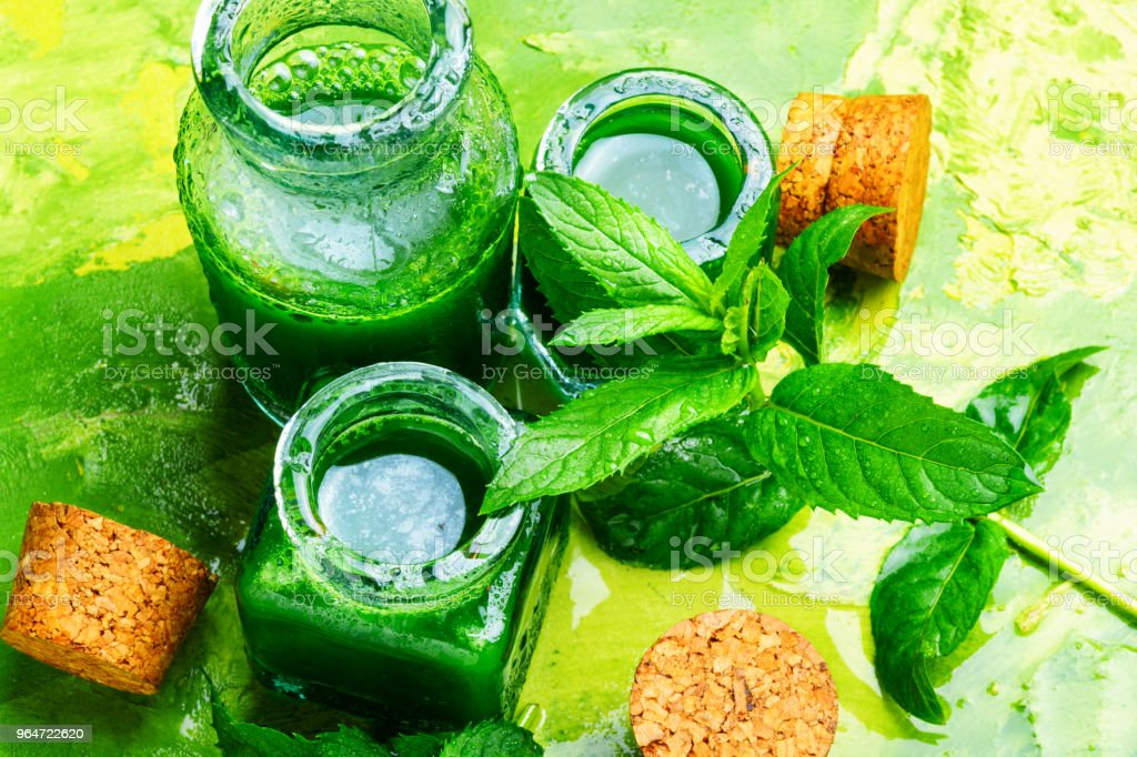 Natural mint essential oil royalty-free stock photo