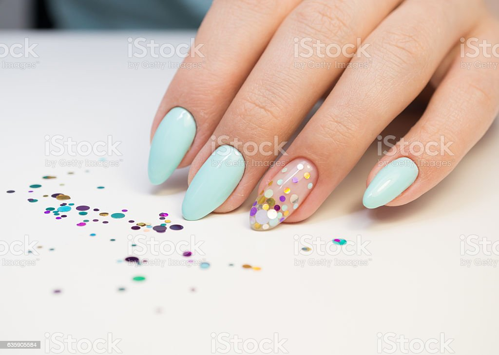 Natural nails, gel polish. Perfect clean manicure with zero cuticle. stock photo