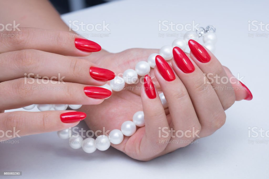 Natural nails with gel polish applied. Ideal manicure and women\'s...