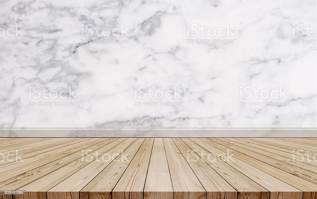 Natural oak wood floor with luxury marble stone wall texture stock photo