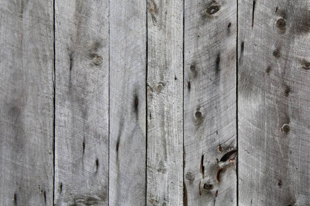 natural old vintage knotty weathered aged wood fence board vertical view suitable for website background marketing backgrounds backdrops architecture architectural layout design stock photo