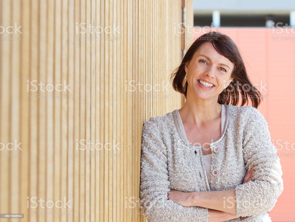Natural older woman smiling stock photo