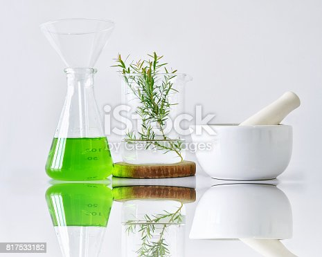 istock Natural organic botany and scientific glassware, Alternative herb medicine, Natural skin care beauty products 817533182