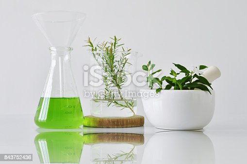 istock Natural organic botany and scientific glassware, Alternative herb medicine, Natural skin care cosmetic beauty products, Research and development concept. 843752436