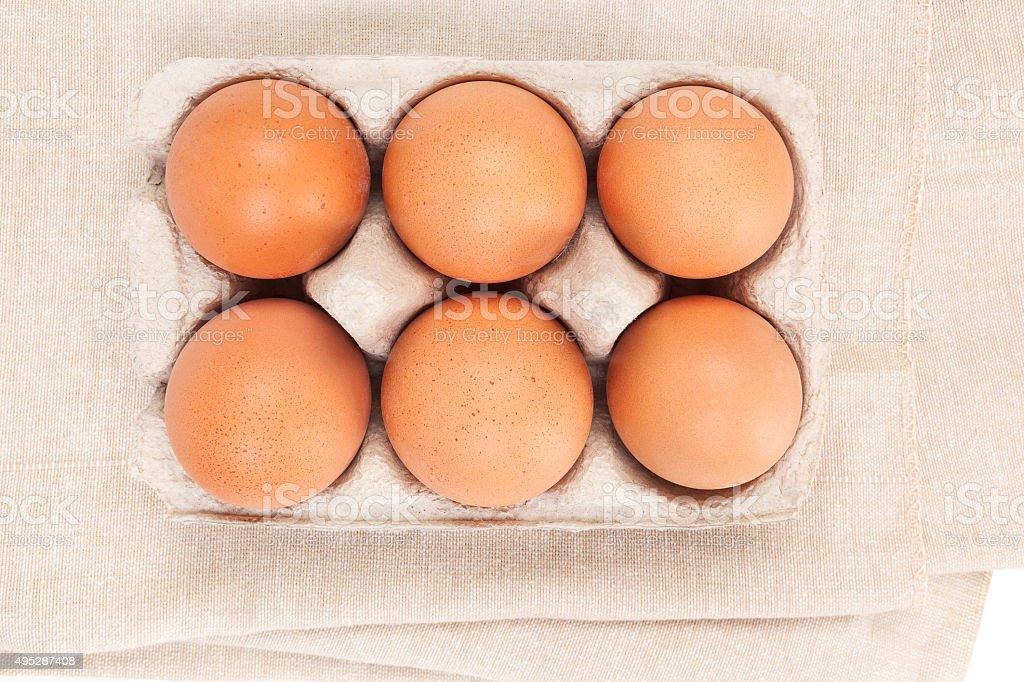Natural organic chicken eggs, top view. stock photo