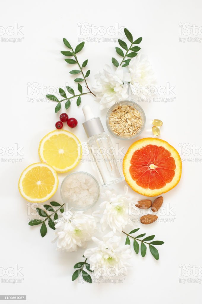Composition of natural organic cosmetics, ingredients and flowers on...