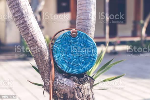 Natural Organic Handmade Rattan Handbag Closeup Blue Color Stock Photo - Download Image Now