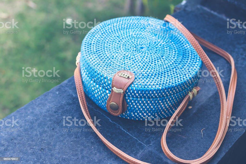 Natural organic handmade rattan handbag closeup. Blue color - Royalty-free Backgrounds Stock Photo