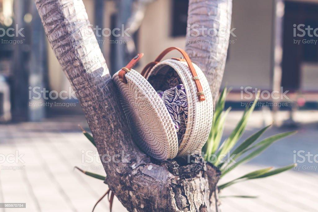 Natural organic handmade rattan handbag closeup - Royalty-free Backgrounds Stock Photo