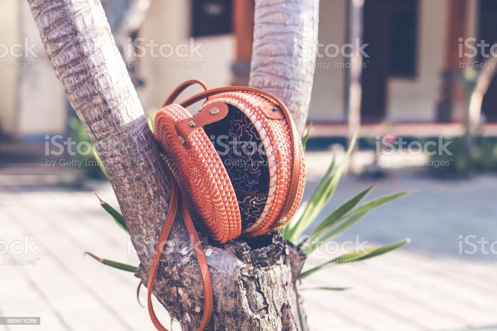 Natürliche organische handgefertigte Rattan Handtasche closeup - Lizenzfrei Accessoires Stock-Foto