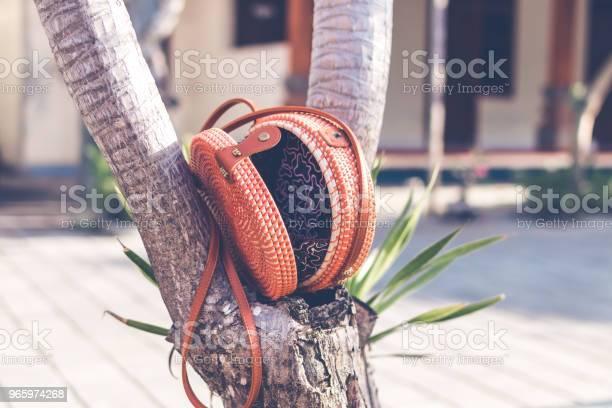 Natürliche Organische Handgefertigte Rattan Handtasche Closeup Stockfoto und mehr Bilder von Accessoires