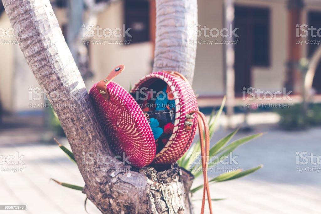 Natuurlijke organische handgemaakte rotan handtas closeup - Royalty-free Archiefbeelden Stockfoto