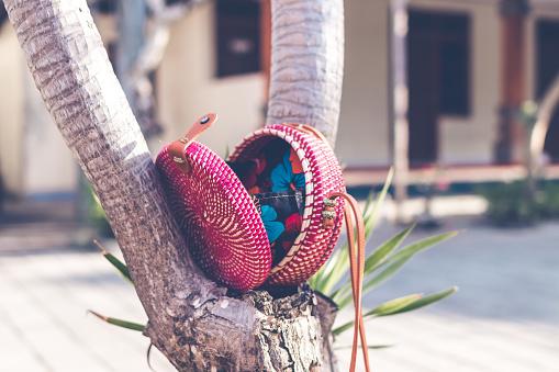Natuurlijke Organische Handgemaakte Rotan Handtas Closeup Stockfoto en meer beelden van Archiefbeelden