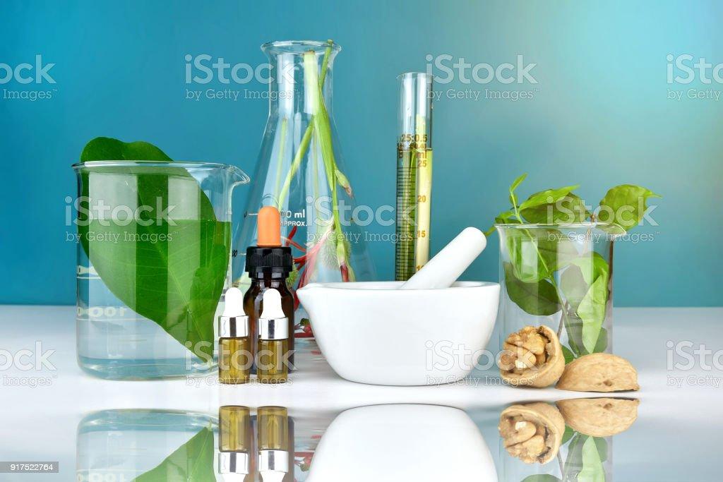 Natürliche Bio Medizin und Gesundheitswesen, Alternative Pflanzenmedizin, Mörtel und pflanzliche Extraktion in Laborglas. – Foto