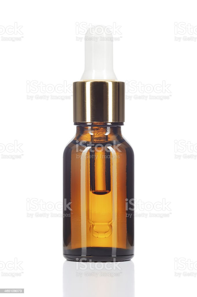Natural organic oil on white background. stock photo