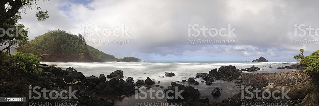Natural Panorama: Empty Hawaiian Beach royalty-free stock photo