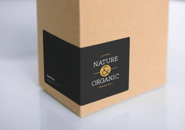 naturpapier box verpackung mockup - aufkleber stock-fotos und bilder