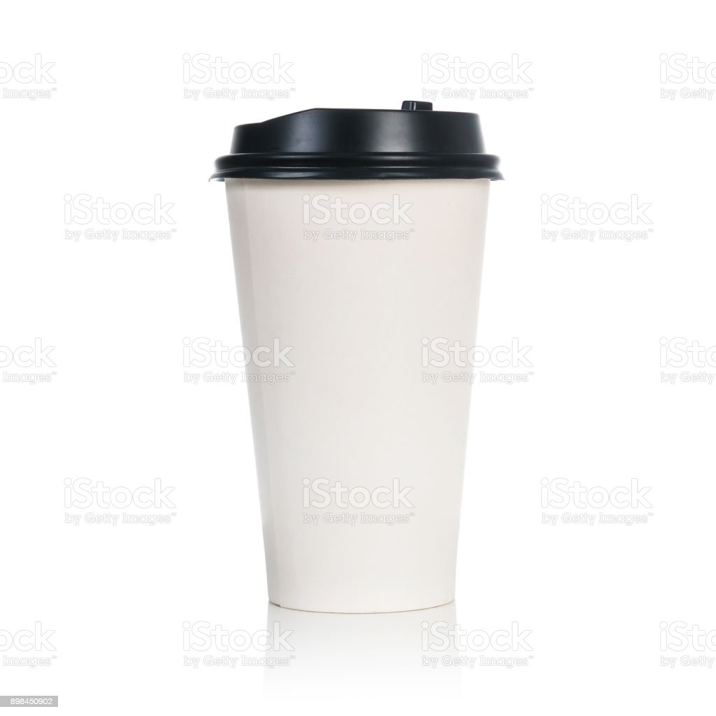 Natural paper coffee cup isolated on white background stock photo