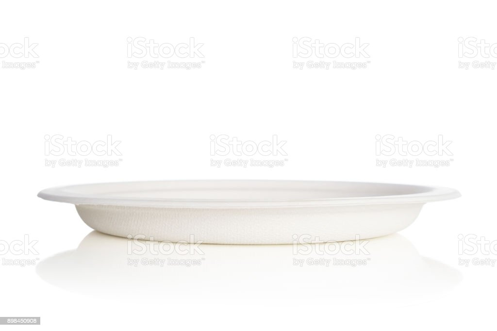 Natural paper dish isolated on white background stock photo