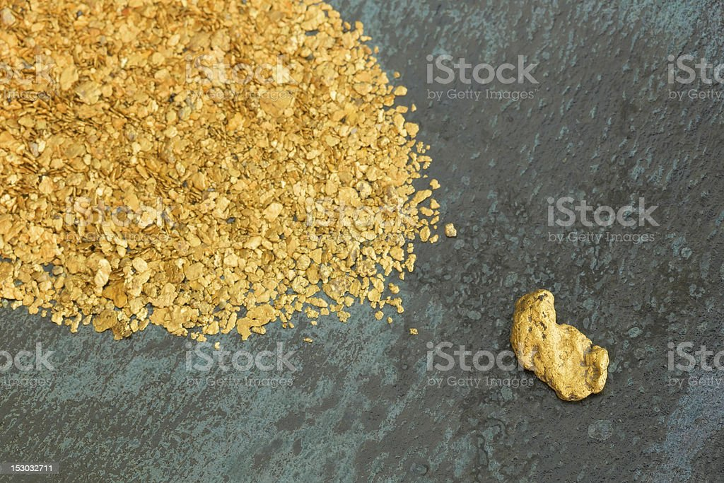 Natural Placer Gold Nuggets stock photo