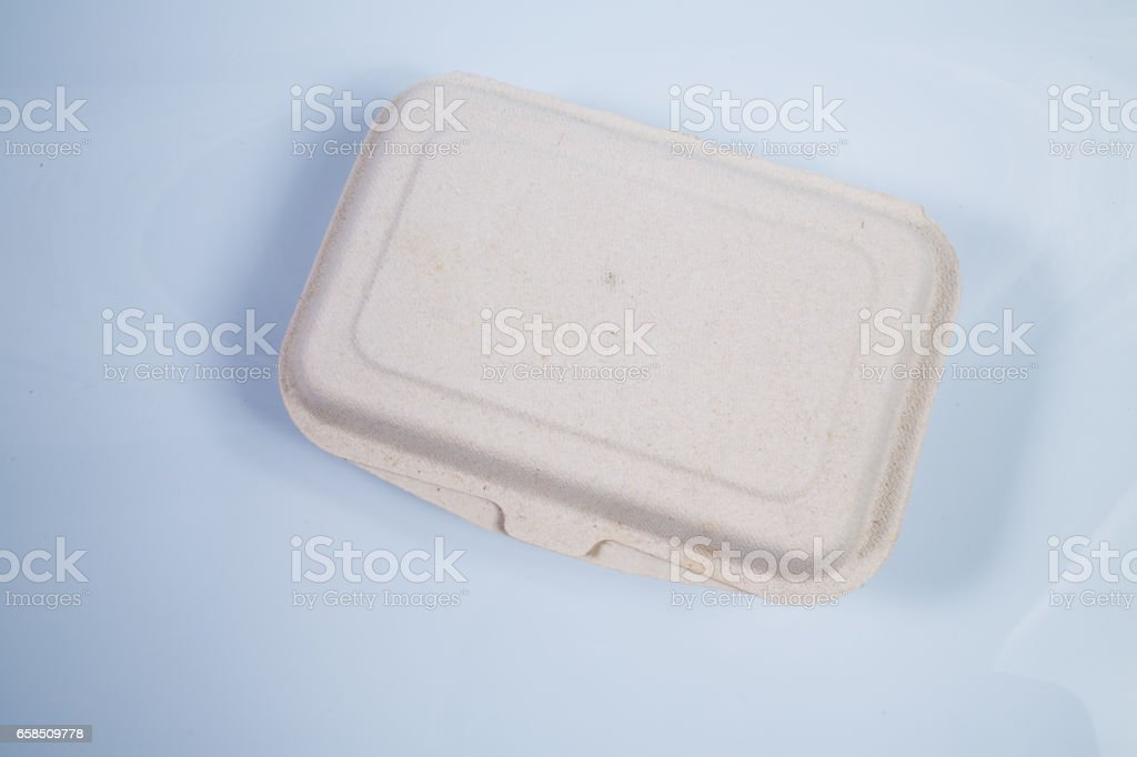 Natural plant fiber food box isolated on white background stock photo