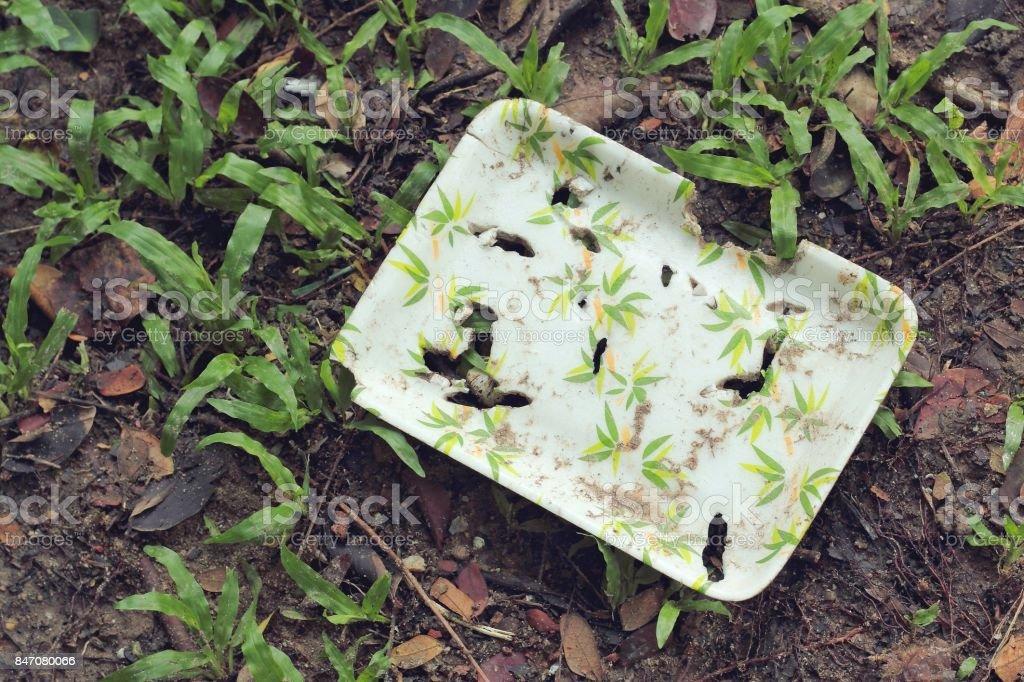 natural plant fiber food box on the soil texture stock photo
