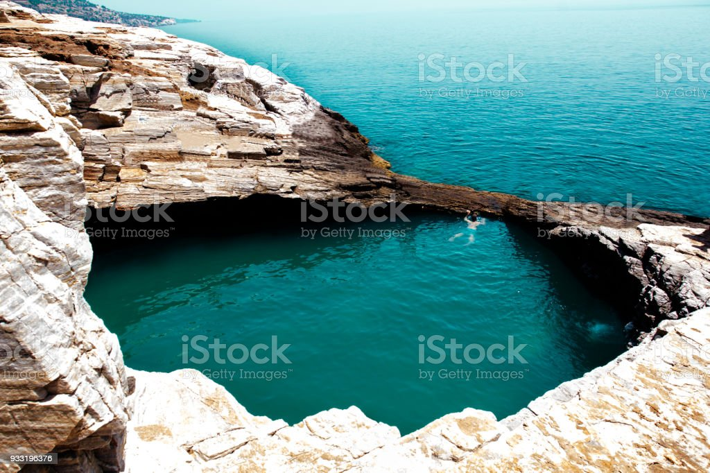 Natural pool Giola, Thassos, Greece stock photo