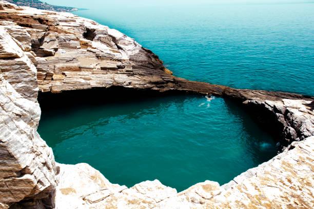 natural pool giola, thassos, greece - laguna foto e immagini stock