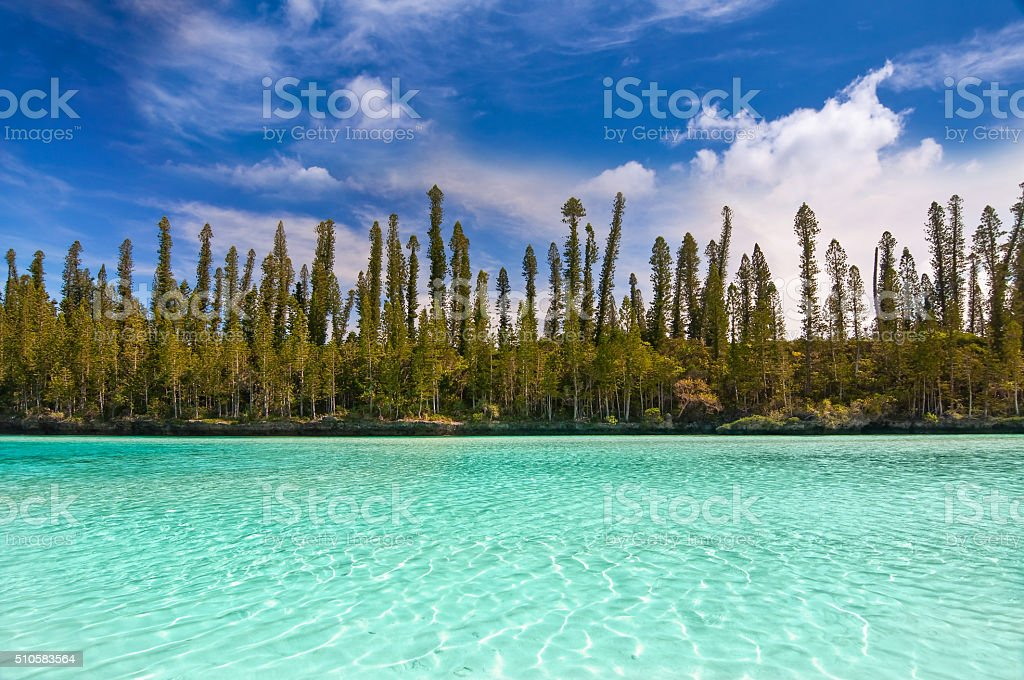 Natural pool of Oro Bay, Isle of Pines, New Caledonia stock photo