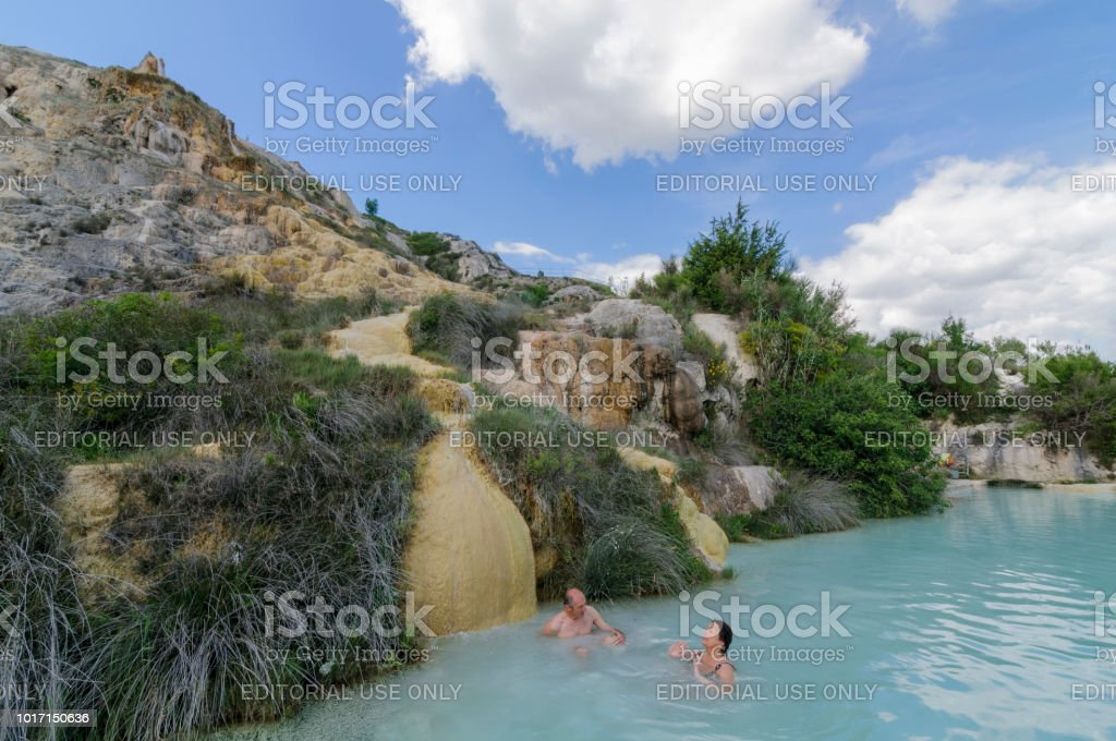 Natural pool with thermal water in Bagno Vignoni, Tuscany, Italy, Europe stock photo
