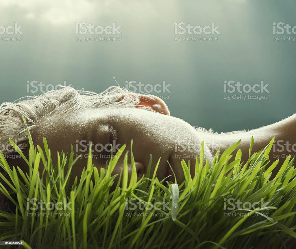 natural portrait in lush grass stock photo
