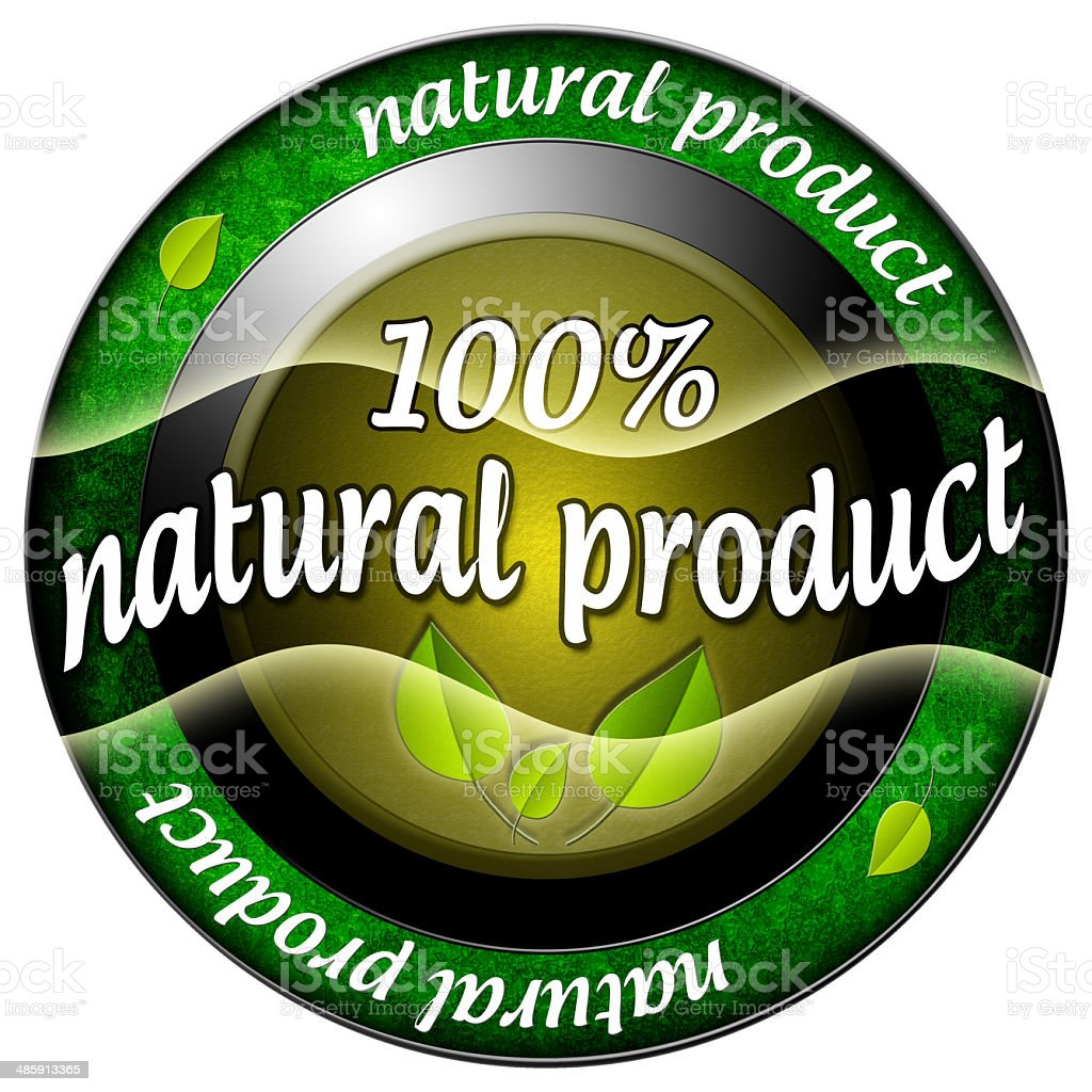 Natural product 100 icon stock photo