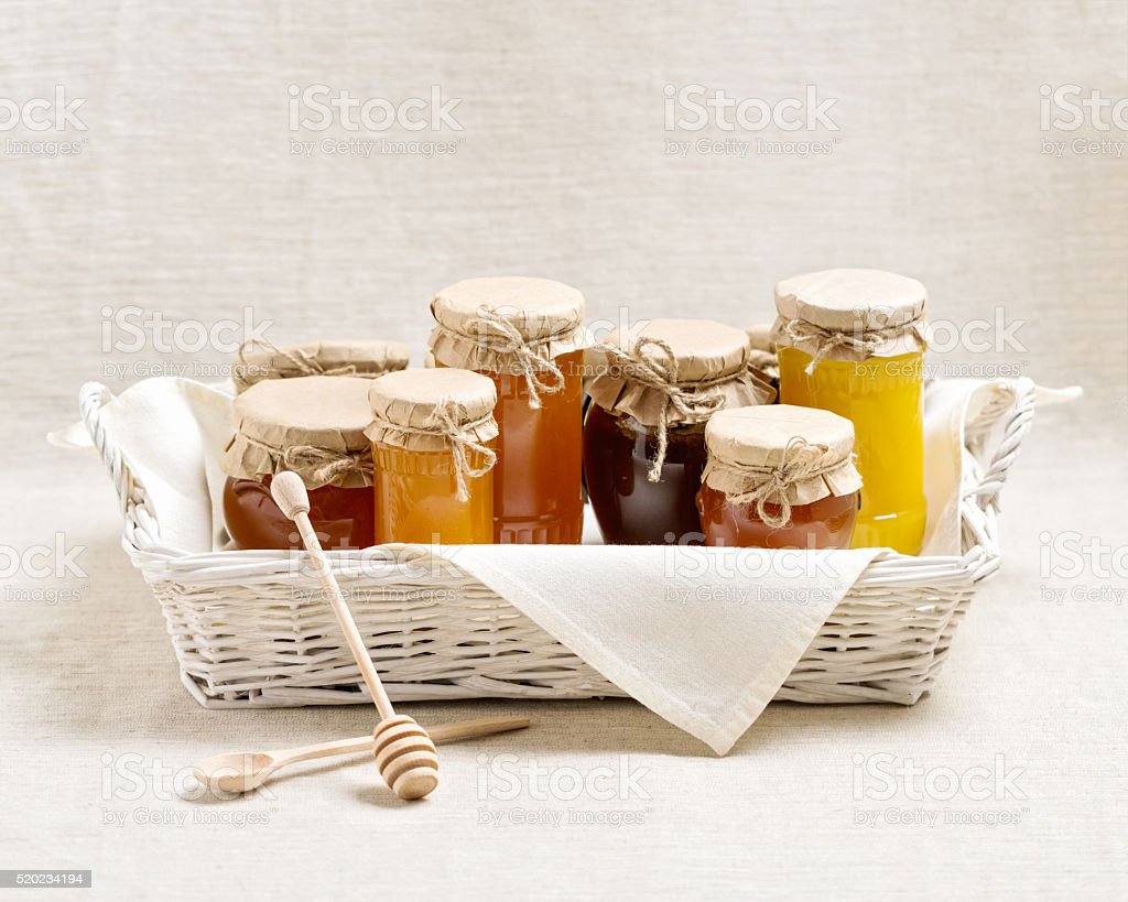Natural product. Different types of honey. stock photo