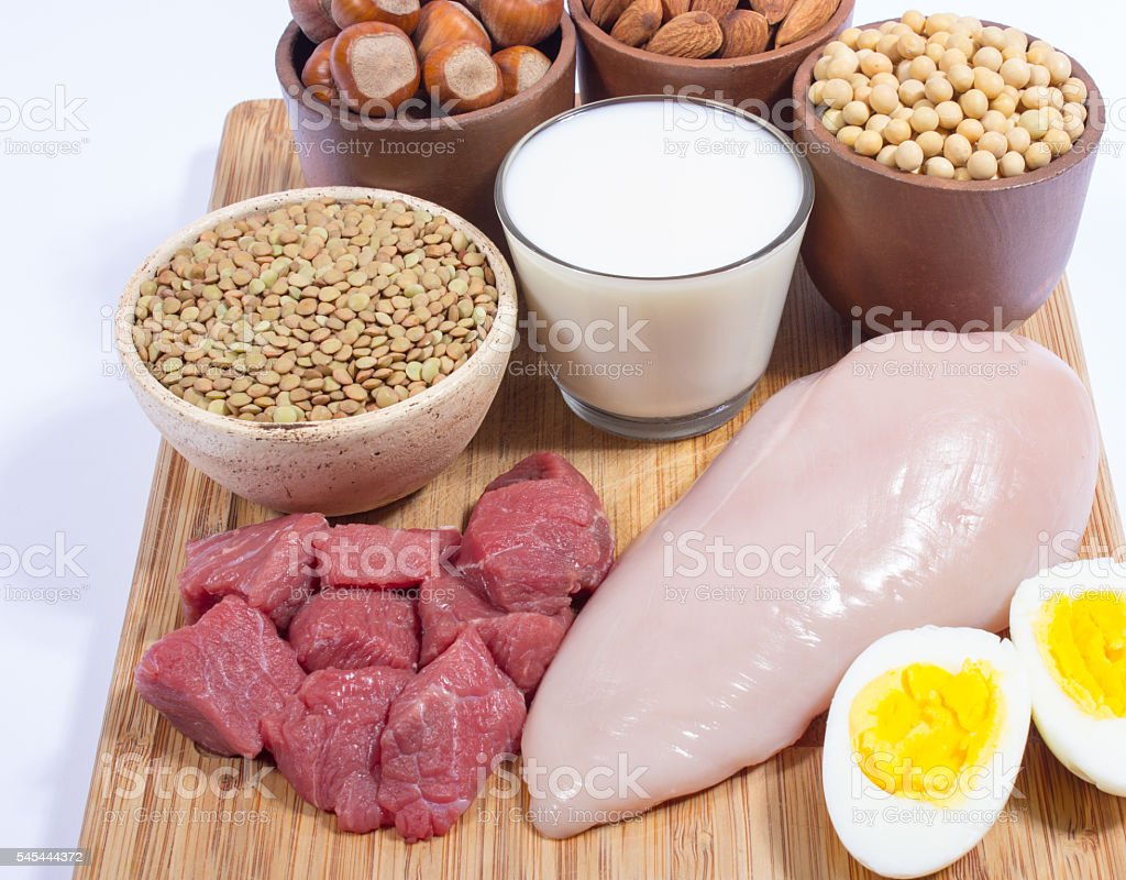 Natural products containing plant and animal proteins. stock photo