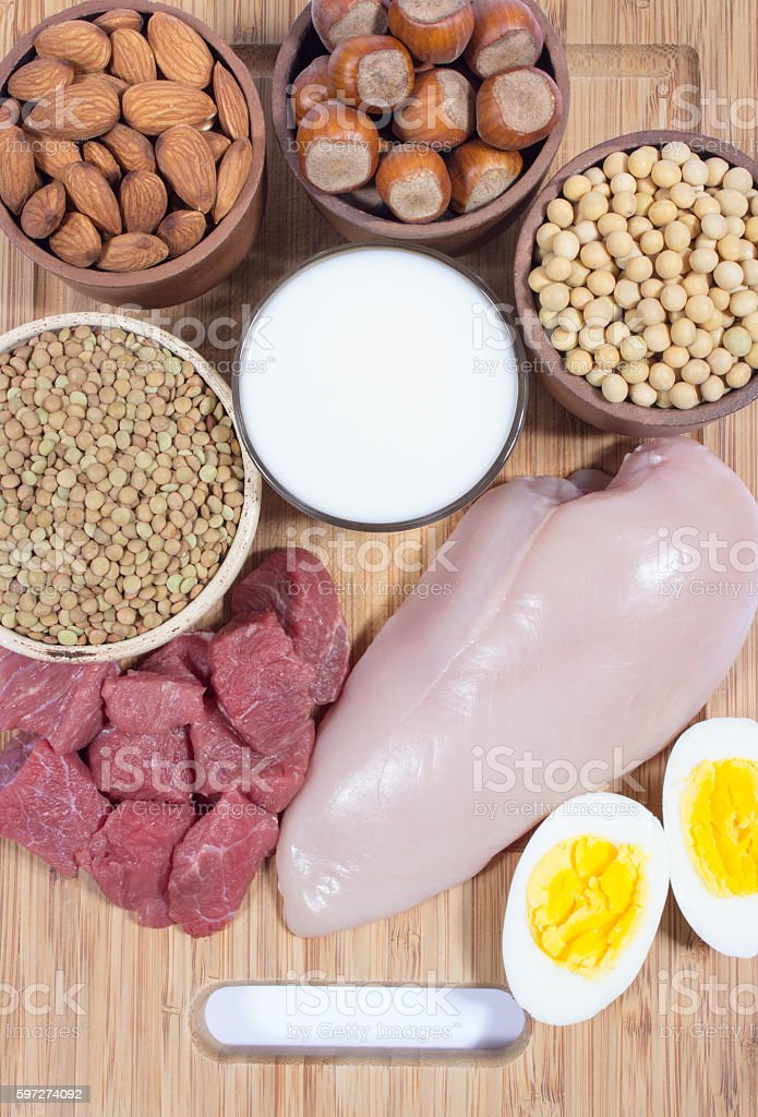 Natural products containing plant and animal proteins. royalty-free stock photo