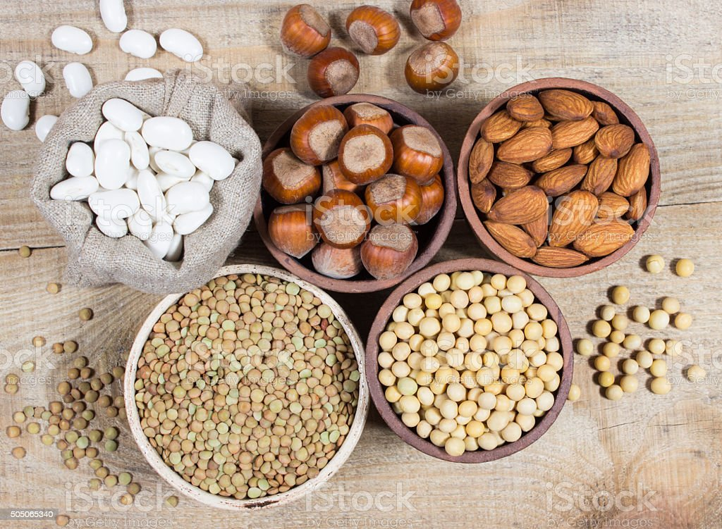 Natural products containing plant proteins. stock photo