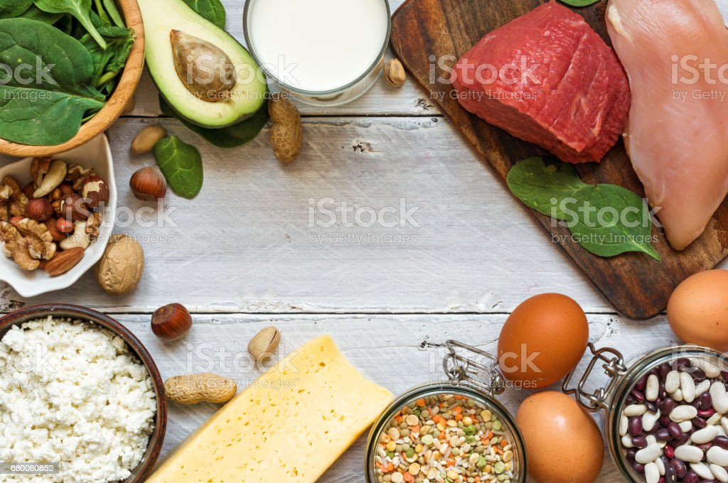 Natural products rich in vitamin B6 and protein stock photo