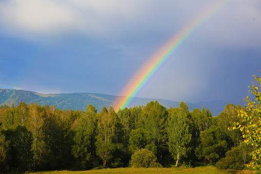Natural rainbow in the mountains