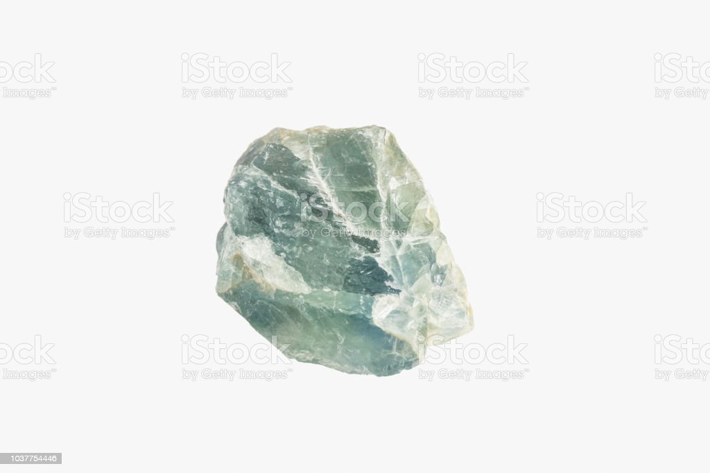 Natural Raw mineral Fluorite from Brazil isolated. Macro shooting. stock photo