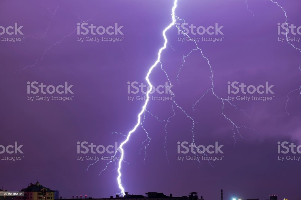 Natural real lightning over the city stock photo