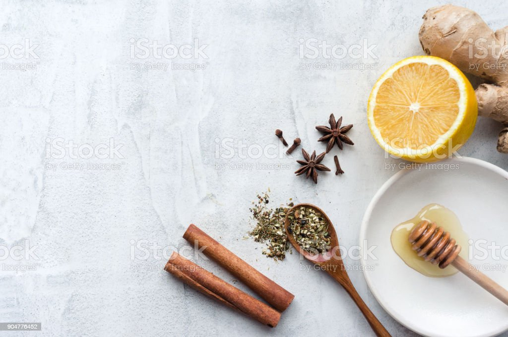 Natural Remedies for cold and flu. Top view. stock photo